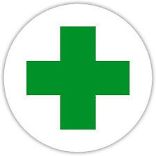 Aufkleber Grünes Kreuz Verbandskasten Erste Hilfe Hinweisschild  8cm