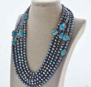 """Z10793 100"""" 8mm Black Round Freshwater Pearl Necklace Turquoise CZ"""