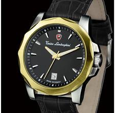 TONINO LAMBORGHINI Men's Swiss Movt 2-Tone Yellow Gold Plated/Leather Date Watch
