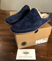 UGG TAMARA NAVY LEATHER SLIP-ON MOCCASIN LOAFERS SLIPPERS Sz 5 AUTHENTIC