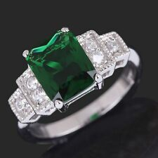Nobby Green Emerald Cut 18K Gold Filled Engagement Woman Rings Size 6-10