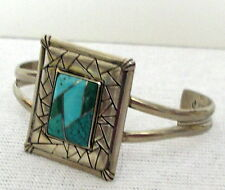 Southwest Spirit Sterling Silver inlaid Turquoise Cuff Bracelet 925 signed