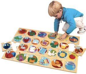 Wooden Alphabet Floor Puzzle Large 35.8L x 6.9W x 25.6H cm For Early Learning