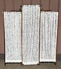 Antique Victorian Oak Stick and Ball 3 Panel Dressing Screen or Room Divider