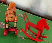 Lot of 2 Vintage Rocking Horses: Red Metal & Painted Wood Christmas Ornament
