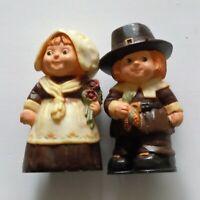 Pilgrim Salt & Pepper Shakers Thanksgiving Hallmark Cards Inc. Man & Women