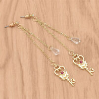 Anime Sailor Moon Earrings Key Shape Pendant Tassel Dangle Ear Hook Cute Jewelry