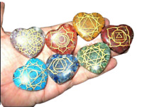 Jet Heart Shaped Chakra Engraved Orgone Set Reiki X-mas Crystal Gemstones Love