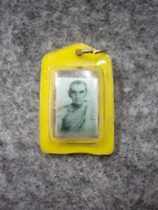 Phra LP Kuay Photo Takrut 3 King Metals Talisman Pendant Thai Buddha Amulet