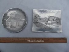 Lot 2 Vintage 1950's Handmade Wendell August Trays Plate School House Amish Farm