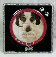 "Sonoma Dog Frame Photo Size 3.5""x3.5"" Tabletop Woof Bones Enamel Color Accents"