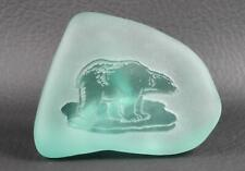 Frosted Blue Green Glass Engraved POLAR BEAR Rock Shape Paperweight Figurine