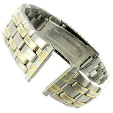 16-22mm Gilden Stainless Steel Silver Gold Two Tone Deployment Buckle Watch Band