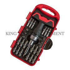 KING 26 PC Compact Screwdriver & Precision Bit Set w Stubby T-Handle Ratchet SAE
