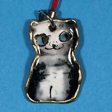 F/S Japanse Handicraft Shippo Ware Cat Key Chain Strap Cloisonne Enamel Kyoto