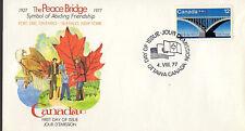 Canada - Peace Bridge - 737 U/A Fdc - Fleetwood Cachet - 1977