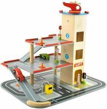 Kinder Spielzeug Holz Parkhaus Parkgarage Autogarage 3 Ebenen Autos Hubschrauber