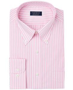 Club Room Mens Dress Shirt Pink 17 1/2 Regular-Fit Striped Long Sleeve $55 #165