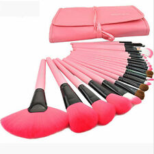 Pro 24 Pcs Makeup Brush Cosmetic Tool Kit Eyeshadow Powder Brush Set+Case Pink