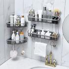 2Pcs Bathroom Triangular Corner Shower Shelf Wall Bath Storage Holder Rack Hooks