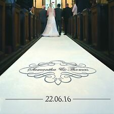 Personalised WEDDING AISLE RUNNER. Church Wedding Carpet Decoration.10 metre