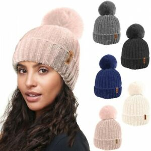 Ladies Designer Rock Jock Chenille Fleece Lined Faux Fir Bobble Pom Pom Hat UK