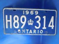 ONTARIO LICENSE PLATE 1969 H 89 314 VINTAGE CROWN CANADA  GARAGE CAR SHOP SIGN