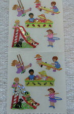 Sandylion CHILDREN ON PLAYGROUND Strip of 2 Sqs RETIRED Vtg Stickers RARE