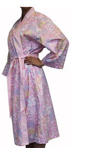 Pretty Floral Pink Cotton Bathrobe Shabby Chic Daisy Dressing Gown Bath Robe