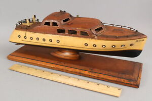 Antique 1930s Atlantic City Folk Art Airflow Cabin Cruiser NORA, Lake Boat Model