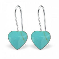 New Sterling Silver Earrings Turquoise Heart Shell UK