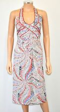 ISABELA CAPETO Portuguese Words Phrases Beaded Halter Sundress SUPER RARE! Sz M