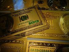 24 k GOLD PLATED $ 100 DOLLAR* GREEN SEAL *USA  BILL-IN RIGID BILL HOLDER