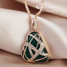 18K Rose Gold Filled Glass Crystal Triangle Shaped Crossover Emerald Necklace