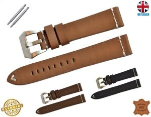 VINTAGE STYLE REAL LEATHER WATCH STRAP BAND BLACK BROWN TAN 18-20-22-24MM