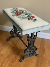 Antique Victorian Vanity Bench Piano Stool Cast Iron Needlepoint