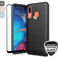 For Samsung Galaxy A20 A30 A50 Phone Case Cover, Shockproof Slim Brushed Armor