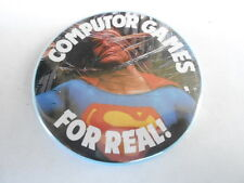 VINTAGE PINBACK BUTTON #58-046 - SUPERMAN - COMPUTOR GAMES FOR REAL!