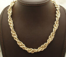 """18"""" Shiny Twisted Double Rope Link Chain Necklace Real 14K Yellow Gold QVC 27.9g"""