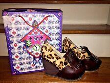IRREGULAR CHOICE Leopard Fur Tassel Chunky Wedges HIGH HEELS Womens Shoes Sz 5.5