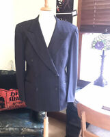 1940s Mens Navy Wool Pinstriped Peaked Lapel Double Breasted Blazer Sz LG