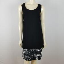 Carmen Marc Valvo sz 12 sleeveless crepe drop waist black and white dress