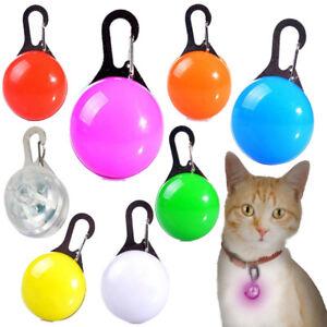 LED Cat Tag Collar Light Up Pet Kitten Flashing See Dark Disc Night Pendant Ball