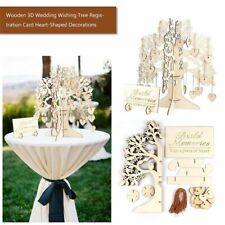 New Wedding Guest Book Tree Wooden Hearts Pendant Drop Ornament Party Decoration
