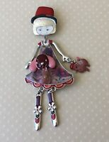 Adorable Girl  dog with movable legs Pin Brooch in enamel on Metal