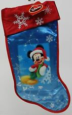 Holiday Christmas Disney 18 inch Hologram Mickey Mouse Blue Snowflake Stocking