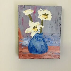 Painting Vase of Flowers Original Canvas Still Life Art by Kim Magee + Free Post