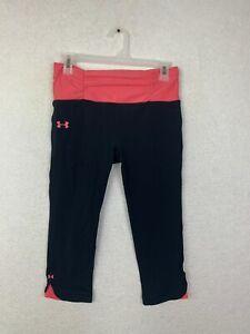 Under Armour Pink Black Capri Leggings Womens Size Medium Ruffle Waist Band