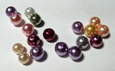 Lot of 18 Glass Pearl Beads Pearlized Multi Color Shiny Round Loose Jewelry