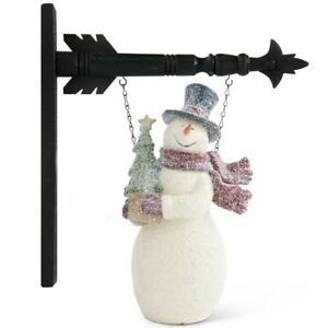 """""""GLITTERED SNOWMAN"""" Replacement Sign - Resin Sign for Country Arrow Holder"""